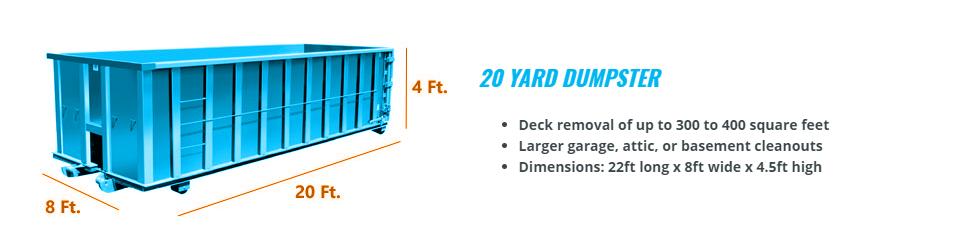 20 yard dumpster size